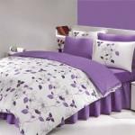 lila renkli çiçek desenli uyku seti modeli
