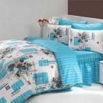 mavi beyaz desenli uyku seti modeli