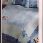 mavi dantel yatak örtüsü modeli