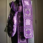 mor tığ işi motifli atkı ve çanta dizaynı