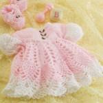 pembe örgü kız bebek elbise modeli ve patik