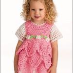 pembe beyaz kız çocukları için katlı kısa kollu örgü elbise modelleri