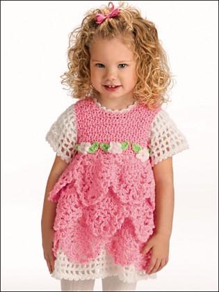 Pembe beyaz kız çocukları için katlı kısa kollu örgü elbise