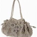 tığ motifli çiçekli şık çanta modeli