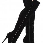 yandan düğmeli uzun siyah çizme modelleri