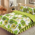 yaprak ve çiçek desenli yeşil sarı uyku seti modeli