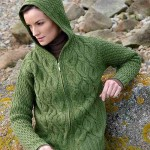 yeşil ajurlu kapşonlu fermuarlı hırka