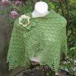 yeşil gül desenli şal modelleri