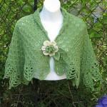 yeşil kısa motifli şal modelleri